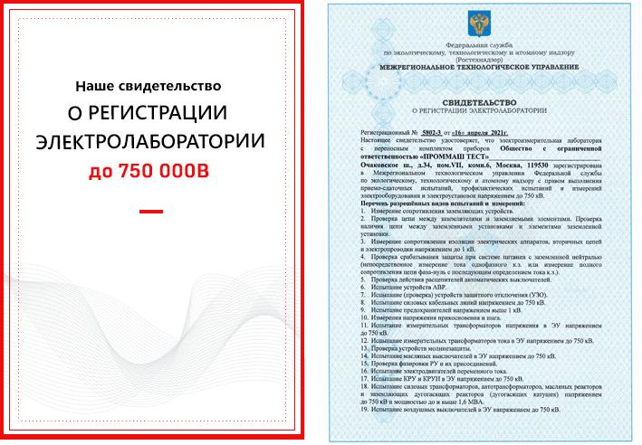аттестат аккредитации на работы до 35000 Ватт